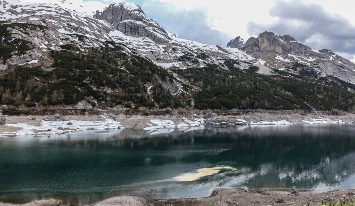 cold lake in Dolomites