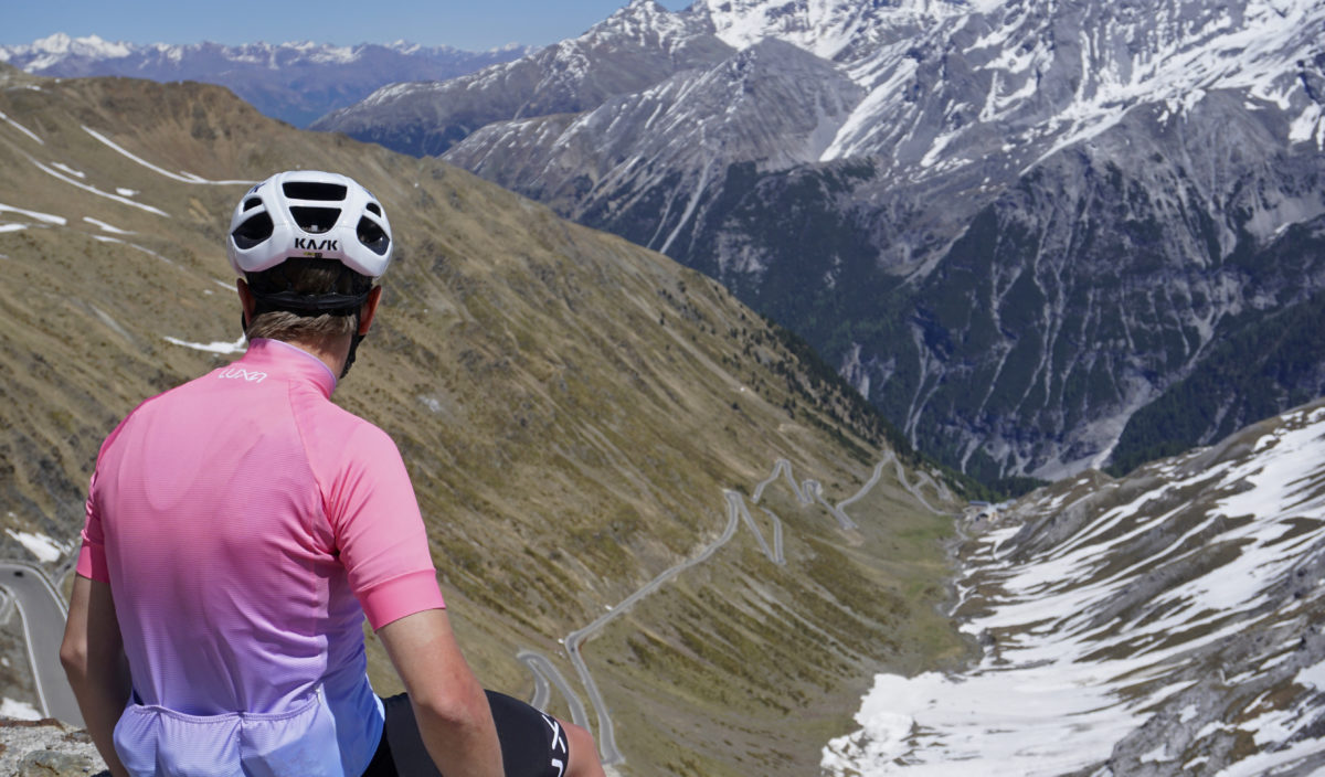 ride for pink jersey at the top of stelvio pass