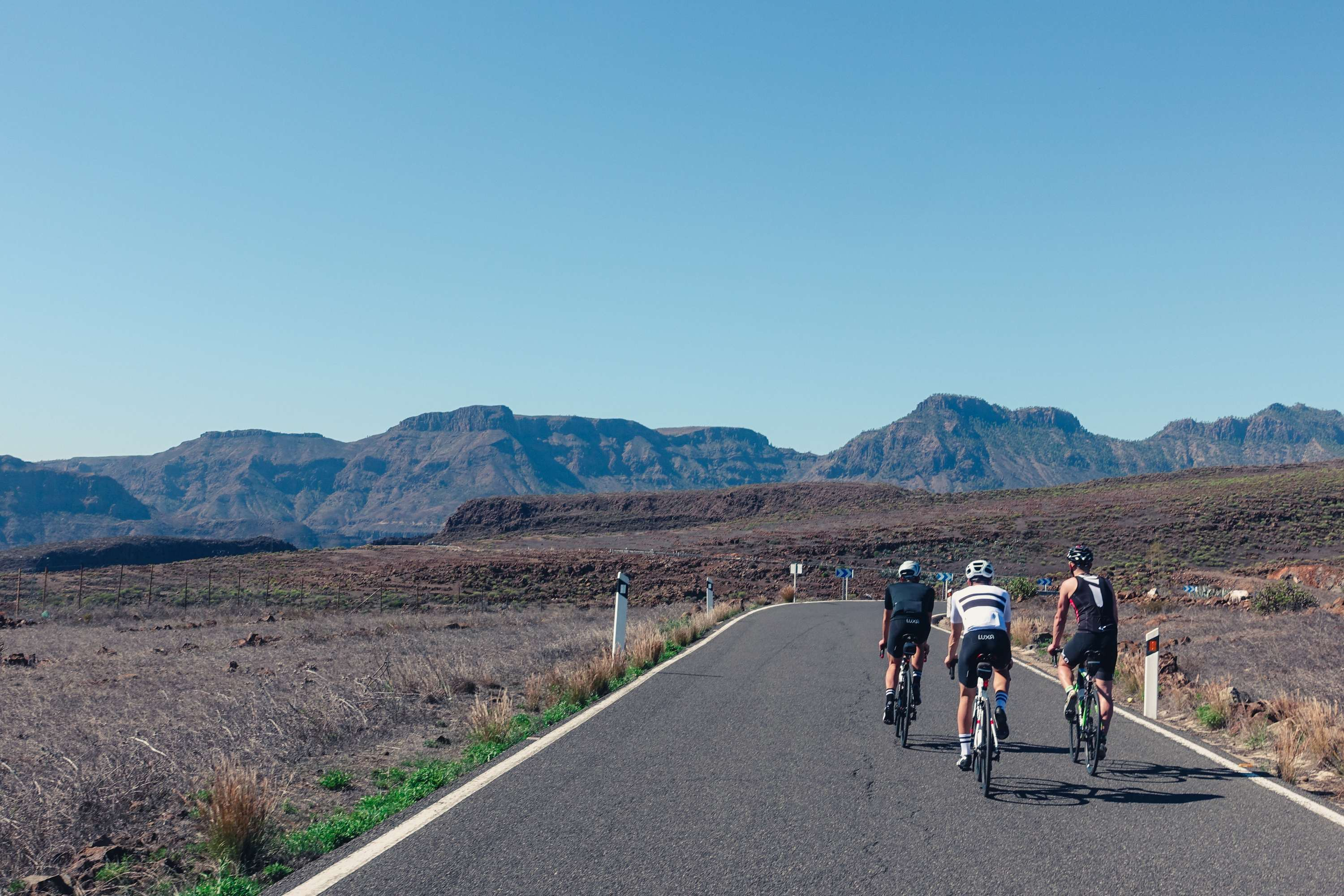 Luxa team cycling in south Gran Canaria
