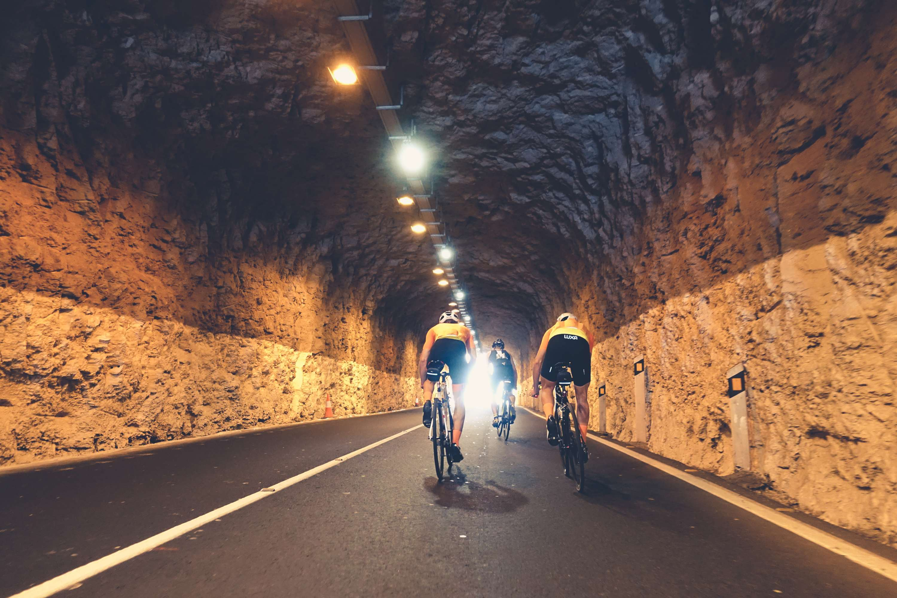 Tunnel in southern part of Gran Canaria. Luxa cycling team